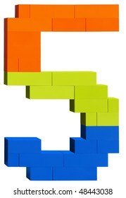 Colorful plastic blocks forming the number five. Clipping path included