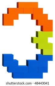 Colorful plastic blocks forming the number three. Clipping path included