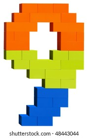 Colorful plastic blocks forming the number nine. Clipping path included