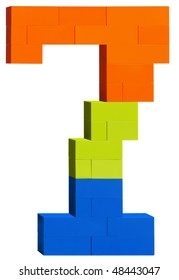 Colorful plastic blocks forming the number seven. Clipping path included