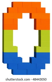 Colorful plastic blocks forming the number Zero. Clipping path included
