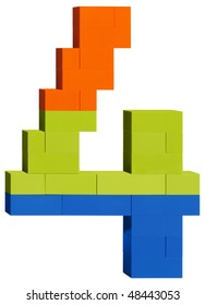 Colorful plastic blocks forming the number four. Clipping path included