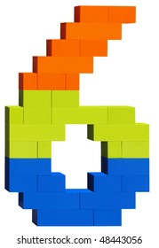 Colorful plastic blocks forming the number six. Clipping path included