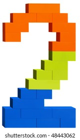 Colorful plastic blocks forming the number two. Clipping path included