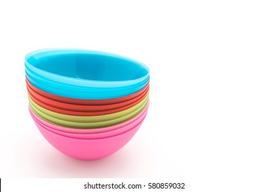 colorful plastic bowl on white background