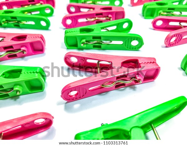 Colorful plastic cloth clamp isolate on white background