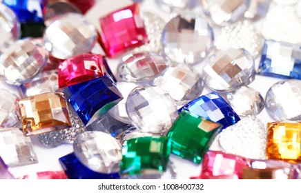 Colorful plastic crystals - close up photo
