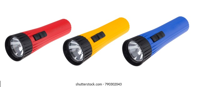 Colorful plastic flashlight isolated on white background