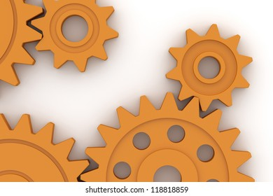Colorful plastic gears - Isolated on white background