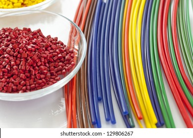 Colorful plastic masterbatch tubes made out of plastic granules