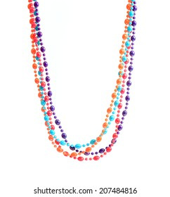 colorful  plastic necklace isolated over white