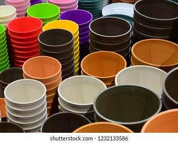 Colorful plastic pot for plant