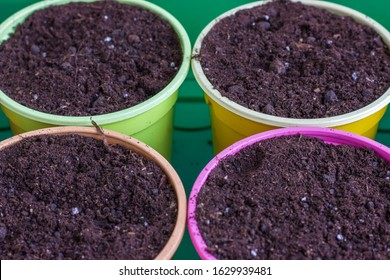 Colorful plastic pots for seedlings. Bright round containers for growing plants filled with earth. Close-up.