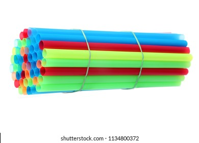 Colorful Plastic Straws. Isolated on white. Room for text.