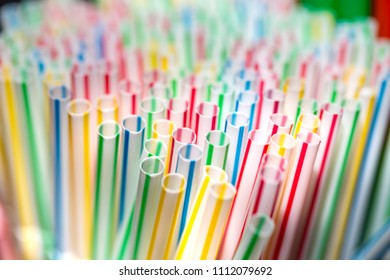 colorful plastic straws with shallow depth of field