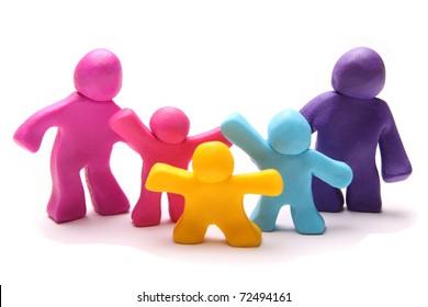 colorful plasticine family