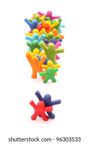 colorful plasticine people with exclamation mark isolated on white
