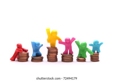 colorful plasticine people showing different pricing