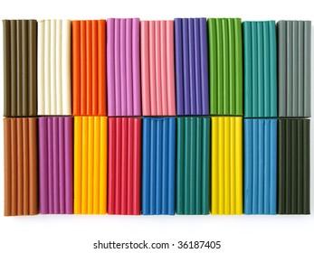 colorful plasticine set on white