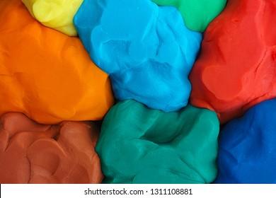 Colorful plasticine texture. Close up.