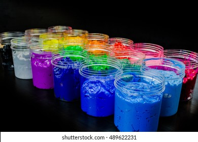 colorful of plastisol ink.ink or paint for printing on fabric there are several types. The ink used for print on dark fabric always use plastisol ink. it useful for white fabric too
