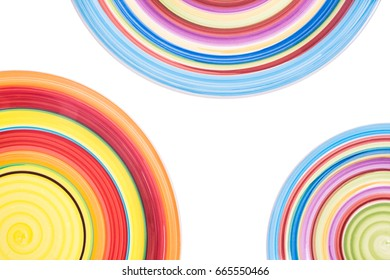 Colorful plates. Colorful circles. Background with colored circles. Colorful plates, circles isolated from the background.