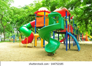 colorful play ground in city park.