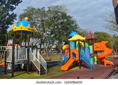 Colorful playground for children at park