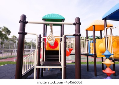 Colorful Playground for children in park.