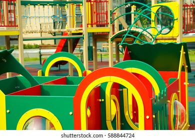 colorful playground for children with various elements to play