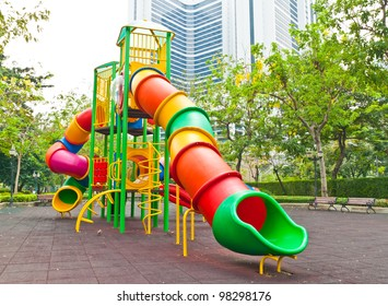 Colorful playground in a city