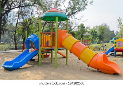 Colorful playground in city park