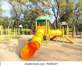 Colorful playground in a city park.