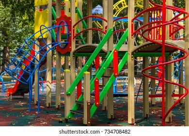 Colorful playground equipment for children in public park