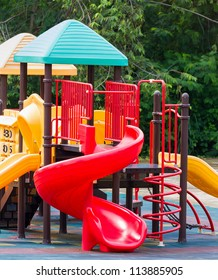 Colorful playground equipment at an outdoor park