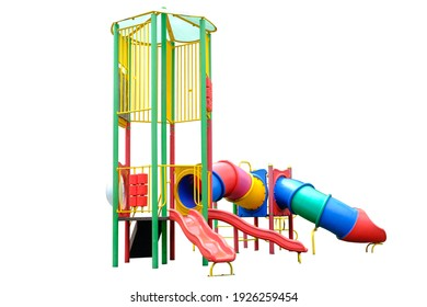 Colorful playground isolated on white background ,with clipping path,Jungle Gym