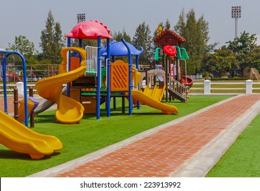 Colorful playground at lunch time.