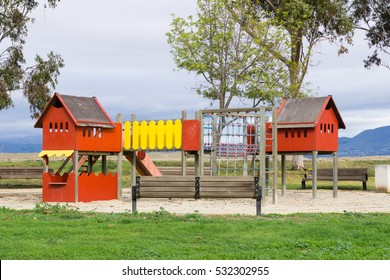 Colorful playground on yard in the park, California