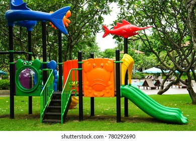 Colorful playground in summer.