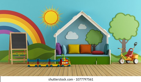 Colorful playroom with bed, blackboard and toys - 3d rendering