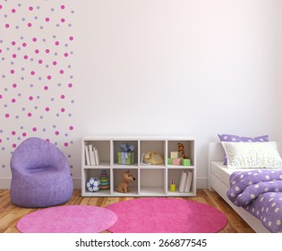 Colorful playroom interior. 3d rendering.
