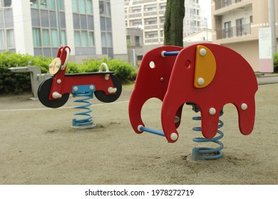 colorful playset in the park