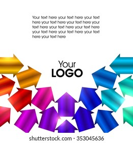 Colorful pointers on white background isolated. Creative illustration. Rainbow gleam effect. Spectral gradient. Iridescent trend.
