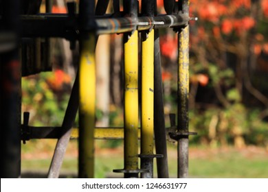 colorful poles on construction site