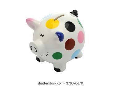 Colorful Polka Dot Piggy Bank, side view