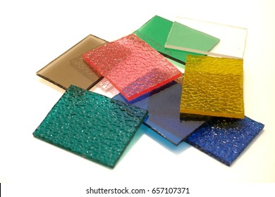 Colorful polycarbonate sheets used in roofing and decoration.
