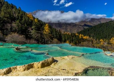 Colorful pools in Huanglong Scenic and Historic Interest Area, SiChuan, China