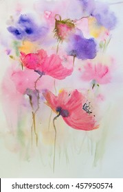 Colorful Poppy flowers, watercolor painting