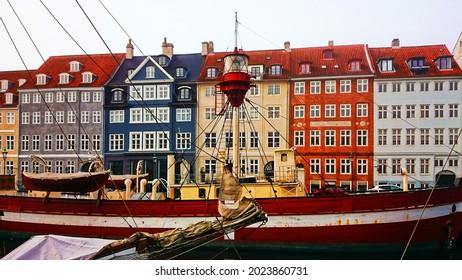 The colorful port of Nyhavn in Copenhagen, Denmark