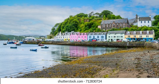 The colorful Portree, main town in the Isle of Skye, Scotland.
